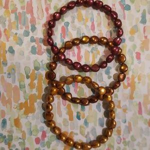 Set of 3 cultured Freshwater pearl bracelets